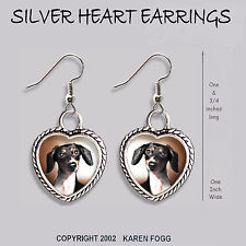 DACHSHUND DOG Smooth Piebald Doxie -  HEART EARRINGS Ornate Tibetan Silver