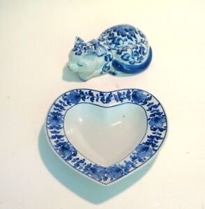Blue and White Pottery Cat and Heart Shaped Dish