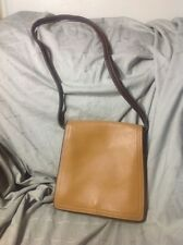 Vintage Coach Beige Tan Leather Shoulder Bag With Front Flap And Snap Closure