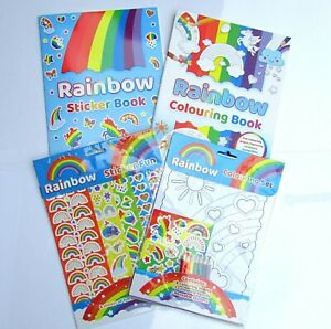 4 X Rainbow Sticker Book, variety of bright stickers and pages to colour