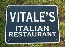 Authentic Retired Michigan Highway Road Sign - Vitale'S Restaurant, Grand Rapids