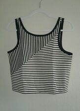 Metaphor Womens Black and White Stripe Crop Top size M
