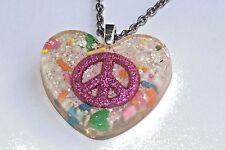 "Pink Glitter Peace sign in epoxy heart pendant 21"" silver tone necklace"