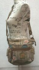 Fossil Shoulder Bag Key Zip Birds Cage Medium Key Canvas Leather Designer M Med