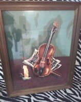 "HAND STITCHED CREWEL EMBROIDERY VIOLIN MUSIC FRAMED 17-1/2"" x 13-1/2"" VINTAGE"