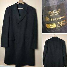 ⭐️St Michael Grey Size 42'' Pure New Wool Long Coat Overcoat Mens Peaky Blinders