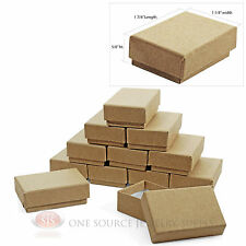 """12 Kraft Cotton Filled Jewelry Gift Boxes 1 7/8"""" x 1 1/4"""" Charm Ring Pendant Box"""