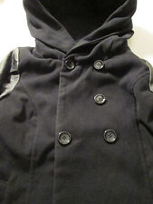 Style & Co Women's Black Faux Leather Mix Double Breasted Belted Coat - Medium