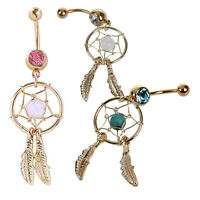 Beautifully Gold Dream Catcher Feather Rhinestone Piercing Belly Button Nav E7D7