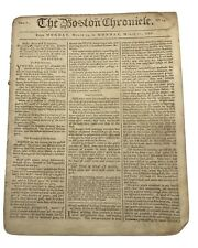 The Boston Chronicle Loyalist Newspaper March 14-21 1768 Pre Revolution, Hancock