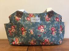 CORA TAYLOR * NEW * OILCLOTH HANDBAG VINTAGE RETRO FLORAL PETROL TEAL BAG FLOWER