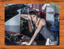 """TIN-UPS TIN SIGN """"Mechanic Hood Calendar Girl"""" Vintage Car Pin Up Garage Auto"""