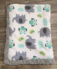 New listing Htf Garanimals Plush Baby Blanket Grey Aqua Elephant Owl Ribbed Edge Soft Euc H4