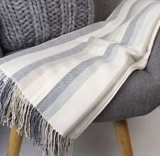 Grey & Beige Stripe Super Soft Throw Blanket