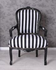 Fauteuil Baroque Antique Chaise de Salle à Manger Noir