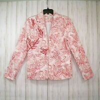 Coldwater Creek White Pink Red Jacket Size 8 Womens Lined Beaded Blazer Euc