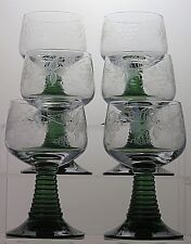 """Etched green stem clear bowl wine hock glasses set of 6, 5 1/3"""" Tall"""