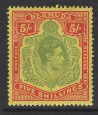 BERMUDA SG118a 1939 5/= PALE GREEN & RED/YELLOW MTD MINT