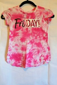 Girl's JUSTICE Pink White Tye Dye Shimmer Friday Size 8 Pullover T-shirt