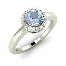 Certified 0.53 Ct Aquamarine & Real Diamond 14k Solid White Gold Engagement Ring