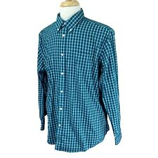 Eddie Bauer Men's Relaxed Fit Wrinkle Resistant Green Check Shirt Large