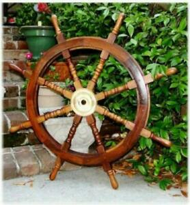 36 Inch Big Ship Steering Wheel Wooden Antique Teak Brass Nautical Pirate Ship's