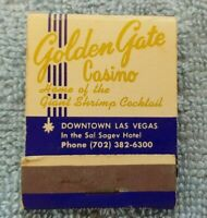Original 1950's GOLDEN GATE CASINO Las Vegas MATCHBOOK Un-Struck VINTAGE