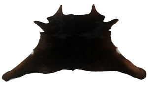 "Cowhide Rugs Calf Hide Cow Skin Rug (34""x32"") Black with touch of Brown CH8163"