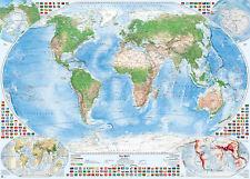 Satellitenbild-Weltkarte mit 4 Nebenkarten, 140x100 cm, deutsch