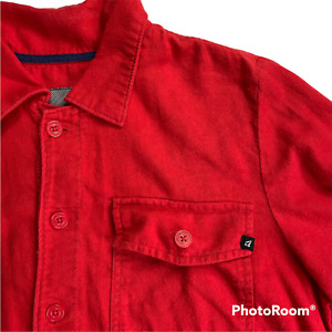 Volcom Men's Size Large Red Flannel Shirt Long Sleeve Button-Up