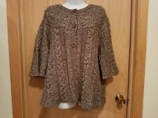Dressbarn Size 18/20 wool women brown gray 3/4 sleeve swing cardigan buttons