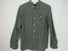 KNOWLEDGE COTTON APPAREL Medium Organic Button Up Plaid Flannel Shirt Blue Gray