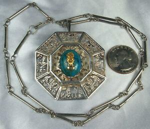 "PERU INCAN STORY Pendant Pin Necklace 18k GOLD TUMI & STERLING Chrysocolla 26"""