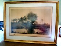 1889 ANTIQUE ETCHING by HENRY FARRER, autographed