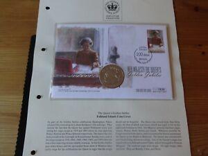 2002 B/U FALKLAND ISLANDS 50p COIN COVER + COA QUEEN GOLDEN JUBILEE CHRISTMAS
