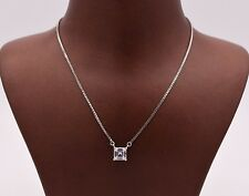 CZ Princess Cut Square Solitaire Pendant Necklace Real Silver w/ Box Chain 5mm