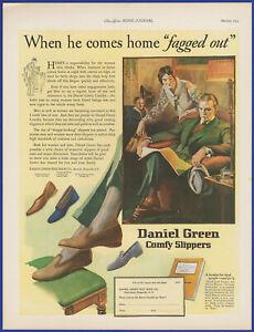 Vintage 1925 DANIEL GREEN Comfy Slippers Women's Shoes Fashion Art Print Ad