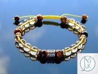 Gemini Citrine Tigers Eye Birthstone Bracelet 6-9'' Macrame Healing Stone Reiki