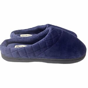 Dearfoams Darcy Microfiber Clog M 7-8 Peacoat Blue Velour Quilted Cuff Slippers