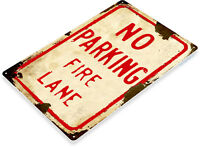 TIN SIGN No Parking Rusty Fire Lane Street Sign Station A134