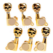 6 Pcs Gold 3L3R Skull Guitar Sealed-Gear Tuning Pegs Machine Head Tuner