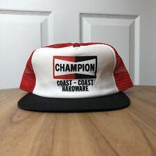 Vintage Champion Hat 80s Trucker Mesh Hardware Coast Snapback USA Patch