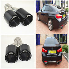 2PCS Car Right+Left Glossy Real Carbon Fiber Exhaust Dual Pipe End Tip for BMW