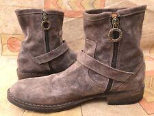 FIORENTINI+BAKER Gray Moto Suede Flats Side Zip Boots Shoes Sz EU 40 | US 10