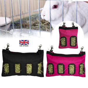 Hay Bag Hanging Pouch Feeder Holder Feeding Dispenser Container For Rabbit UK