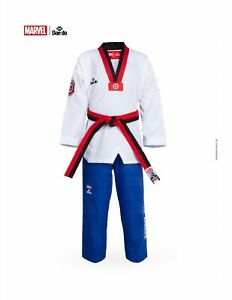 Marvel Dae Do Kids Captain America Poom Collar Taekwondo Dobok Size 0