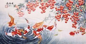 ORIENTAL ASIAN FINE ART CHINESE ANIMAL WATERCOLOR PAINTING-Koi fish carps&Fruits