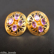 Natural Amethyst 925 Solid Sterling Silver 22k Gold Plated Dangle Earrings