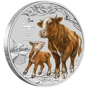 Australien 1 Dollar 2021 - Jahr des Ochsen | Ox (2.) Lunar III. - 1 Oz Silber ST