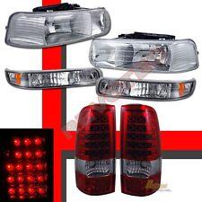 99-02 Chevy Silverado 1500 2500 Headlights w/ Bumper Signal + LED Tail Lights